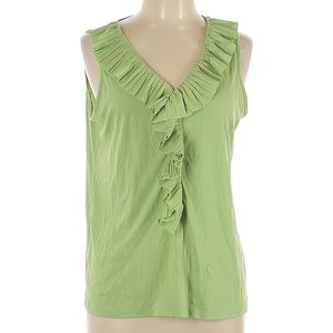 Talbots Ruffle Green Tank Top